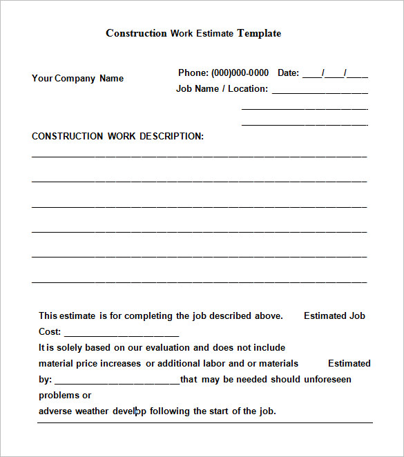 Printable construction contract templates open door for Written estimate template
