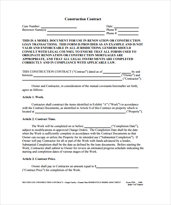 CONSTRUCTION CONTRACT TEMPLATES Open Door Construction - Electrical contractor contract template