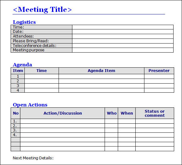 microsoft word minutes template