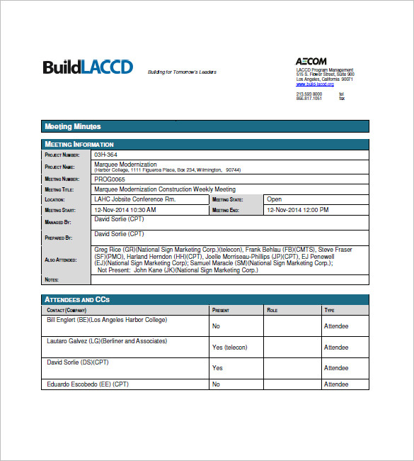 Sample Construction Meeting Minutes Templates  Minutes Templates