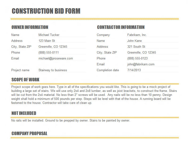 Pdf Free Construction Proposal Template