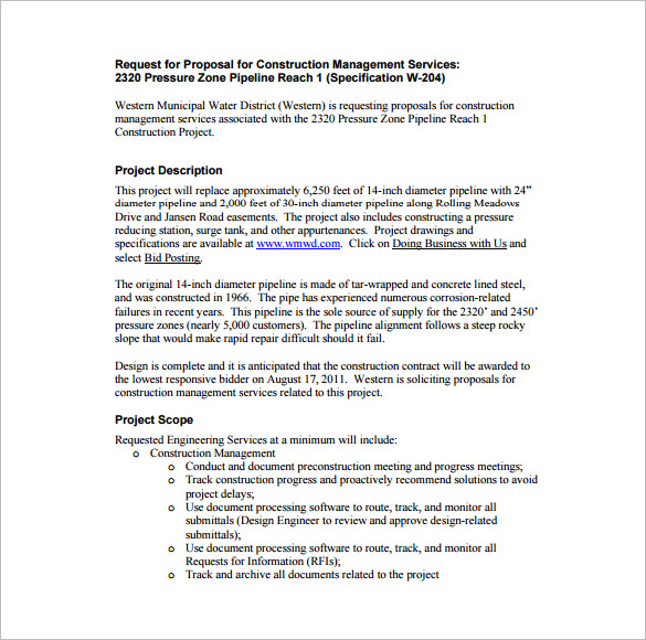 Printabe New Construction Management Proposal PDF Format